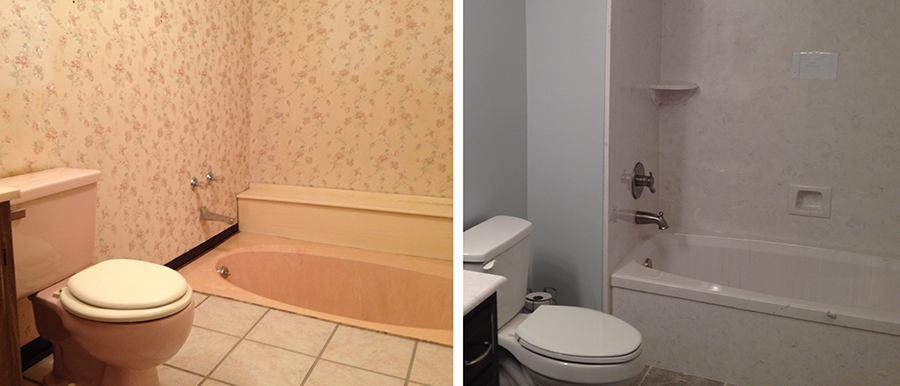 Bathroom Remodel Tub and Toilet Replacement - Before and After