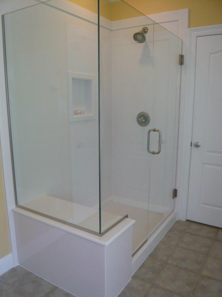 White/White Cultured Marble Shower with bench seat and frameless